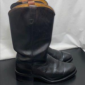 Acme Black Leather Cowboy Boots w/Non Slip Nitrene